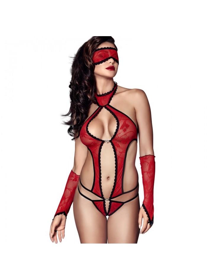 Ashley Body, Masque et Mitaines - Rouge